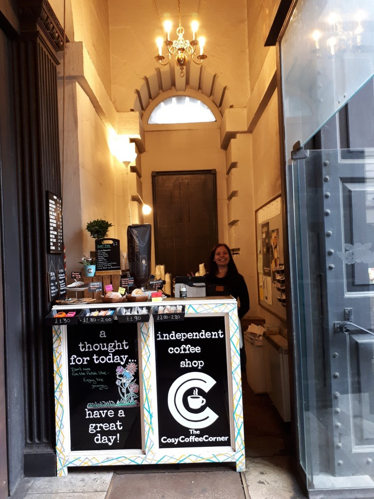 Coffee shop at St Mary Woolnorth, City of London © B Payne April 2019