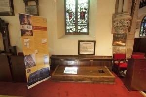 Hucknall StMM_baptistry_byron_tomb copyright Adrian Sissons