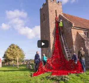 poppy cascade at north baddesley church