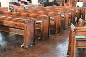 Pews set out concentrically for a service