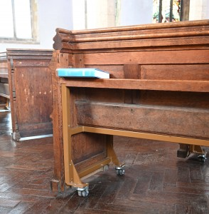 pews on wheels at Terrington St Clements, Norfolk